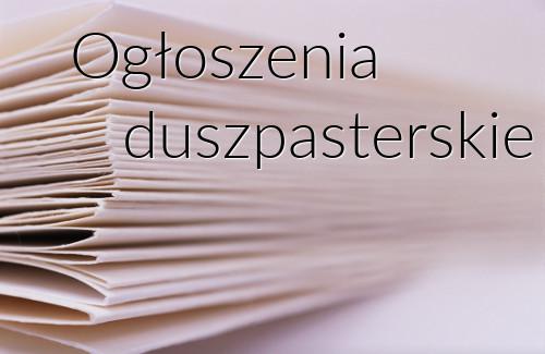 Ogłoszenia Duszpasterskie, 3 luty 2019 roku